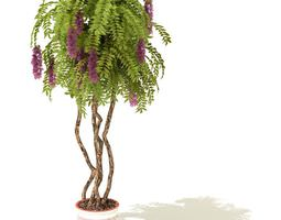 3d potted tree with purple blossoms