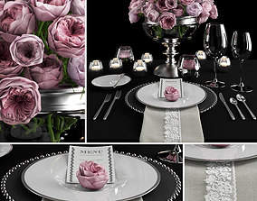 served Table setting with roses 3D