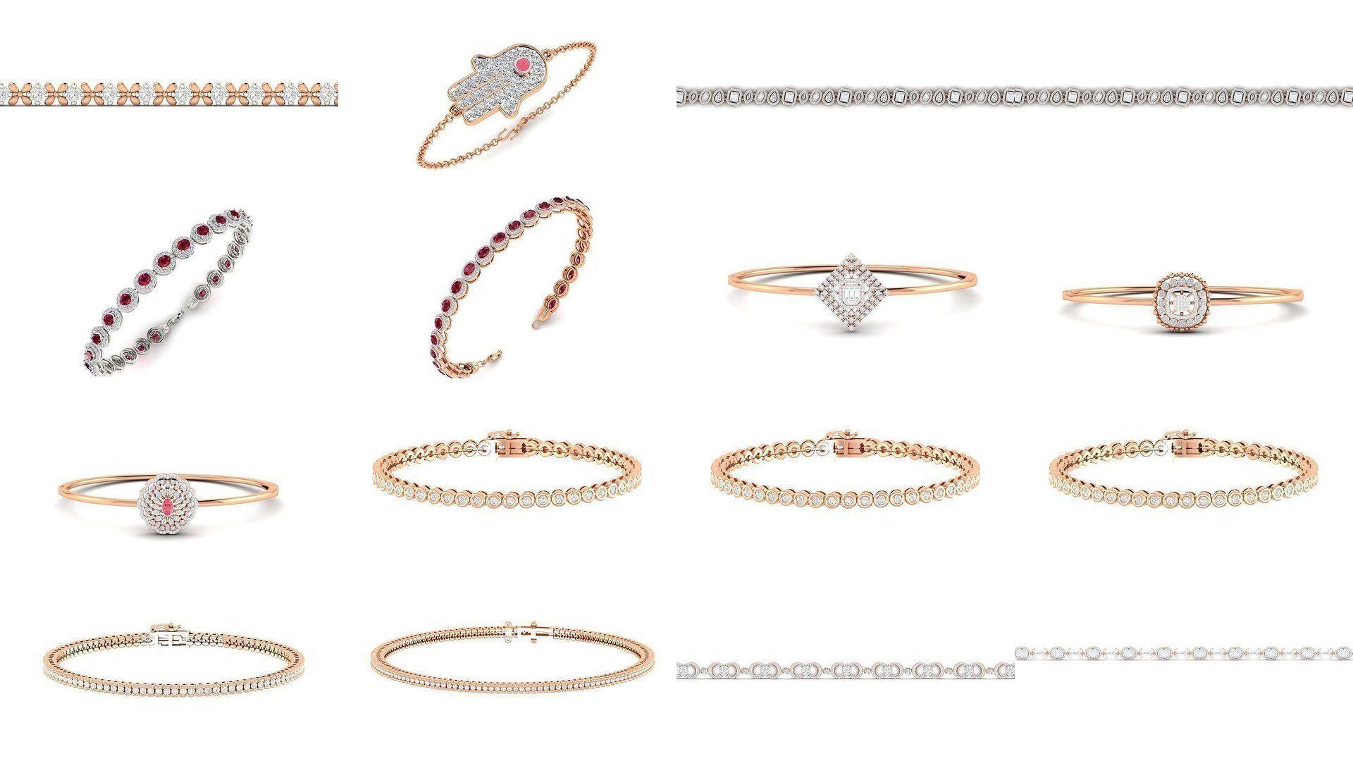 56 Women bracelet 3dm stl render detail