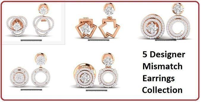 5 Earrings in Earrings 3dm stl renders details