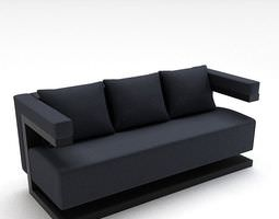 3D model Modern Black Fabric Sofa