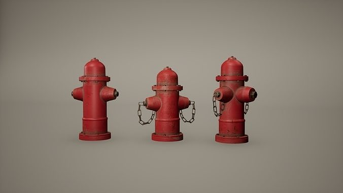 Fire Hydrant Low Poly Game Ready