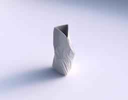 3d printable model vase twist grounded tipping triangle with partial random triangle plates