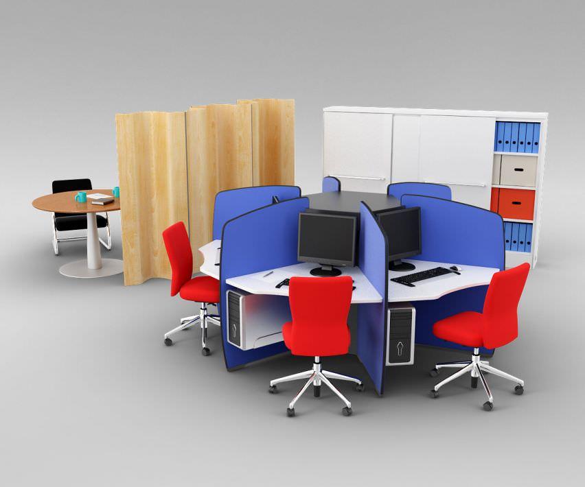 Colorful Office Furniture Set Model Obj 1