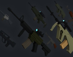 3D asset PACK Very Simple Assault Rifles