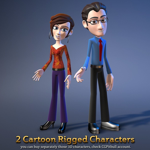 2 cartoon rigged office characters 3d model rigged max obj fbx mtl tga 1