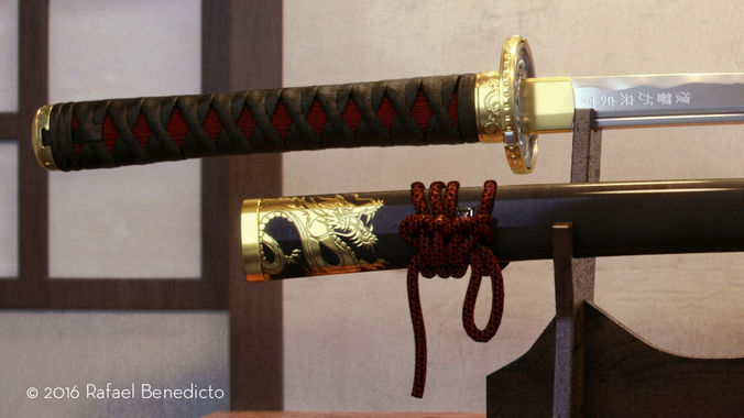 samurai katana - high poly 3d model max obj mtl fbx 1