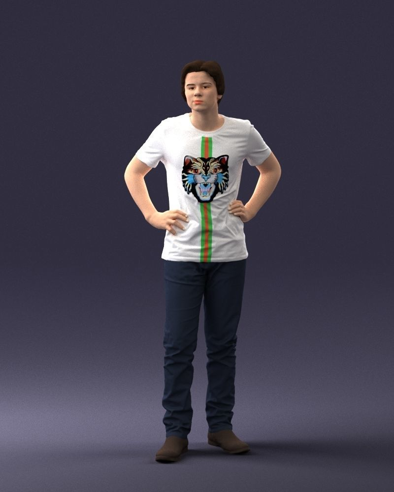 Teenager in tiger shirt 0303 3D Print Ready
