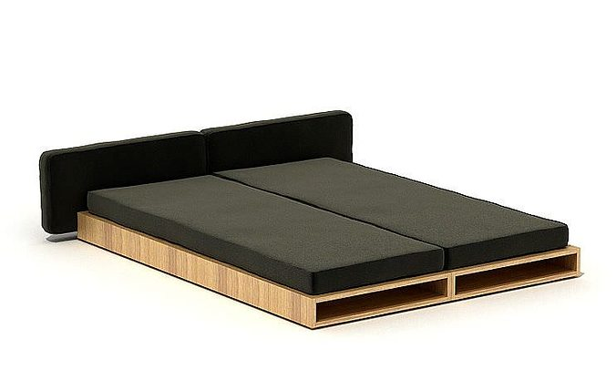 Black Futon Double Bed 3d Model Cgtrader