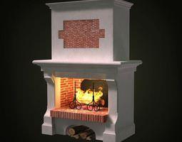 lit white fireplace 3d