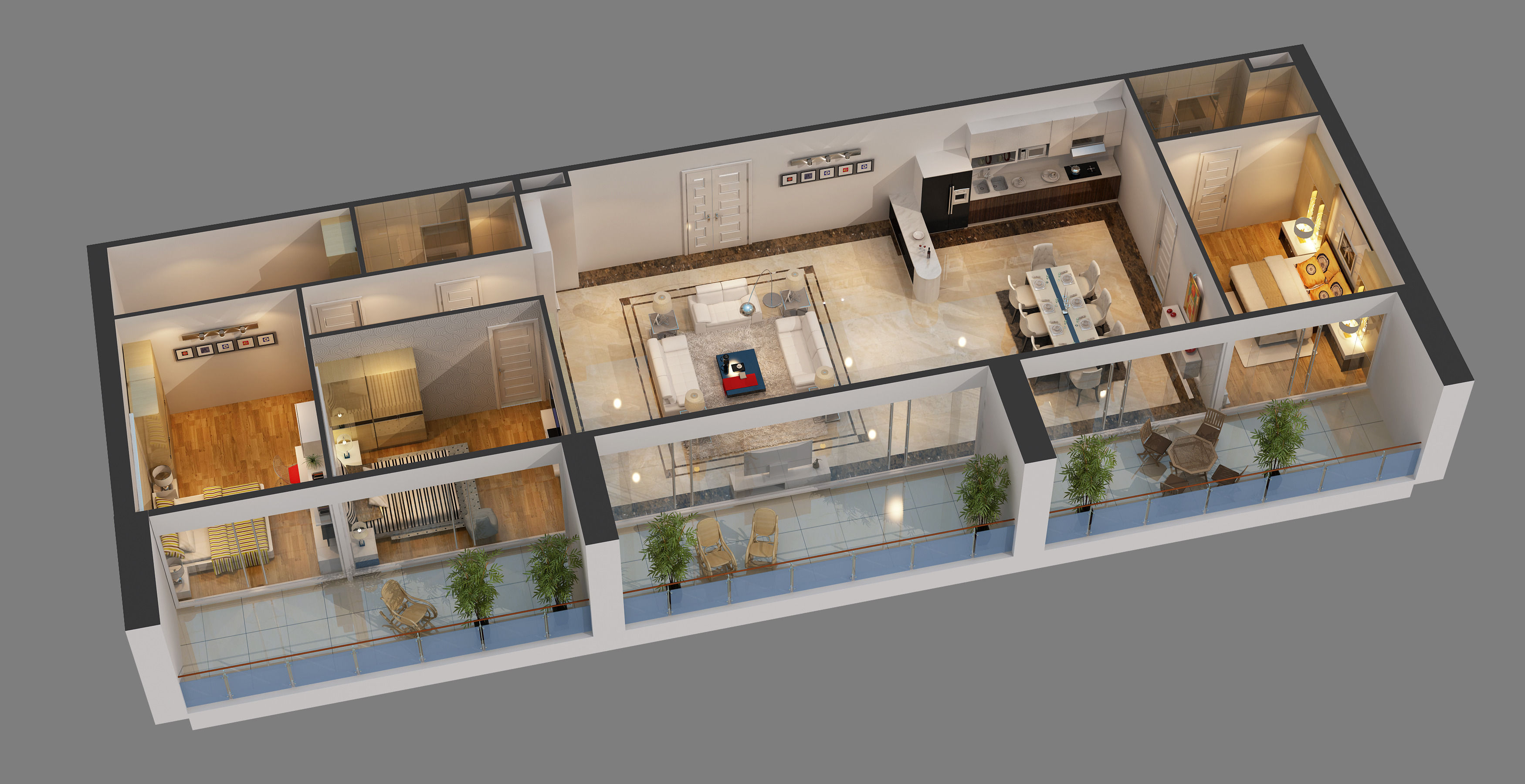 Superb ... Cutaway Apartment Full Furnitures In Modern Design 3d Model Max 2 ...