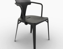 tolix t14 stainless steel chair 3d model game-ready