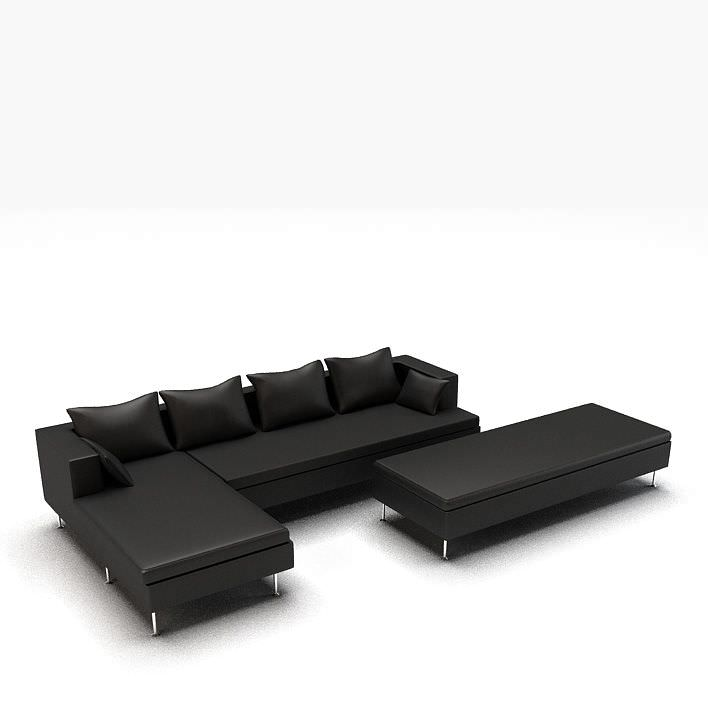 Modern Black L Shaped Leather Couch Model