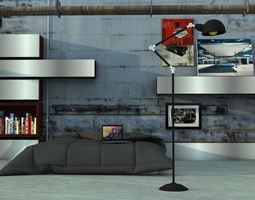 3D industrial LOFT bedroom