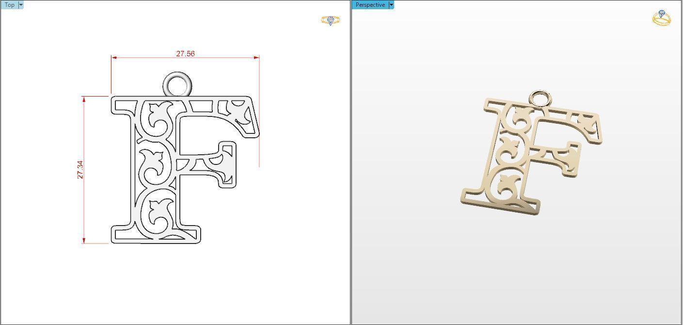 F  letter pendant