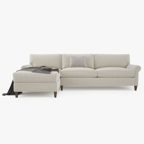 crate and barrel montclair 2 piece sectional sofa 3d model max obj