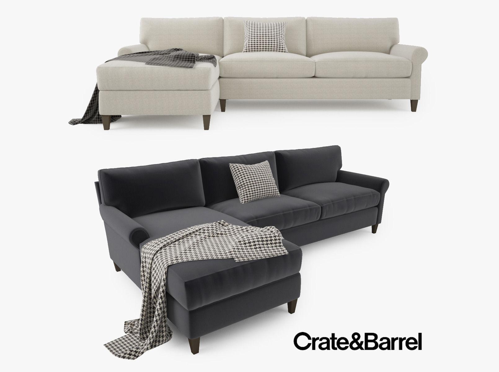 Crate And Barrel Montclair 2 Piece Sectional Sofa Model Max Obj Mtl Fbx 1