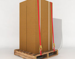 3D asset game-ready pallets with large boxes for dispatch