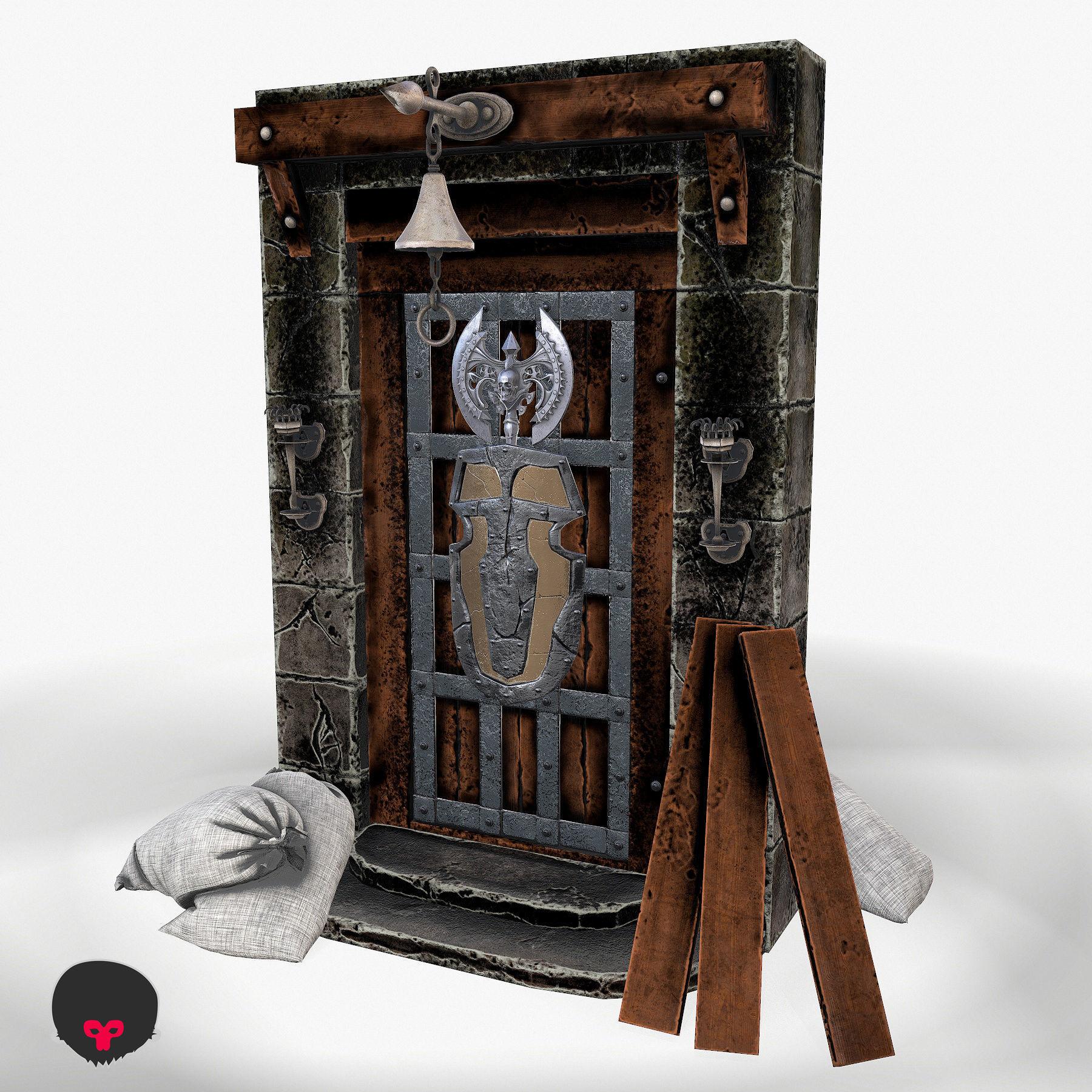 Ancient wooden door 3d model