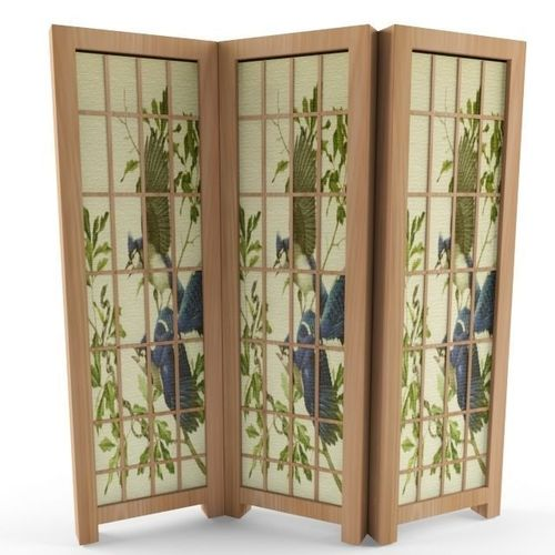asian folding screen 3d model max 1