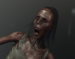 low-poly zombie woman or ghost aaa like pt 3d asset