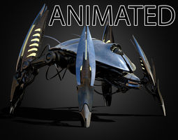3D model Animated Sci-Fi Quadruped Robot