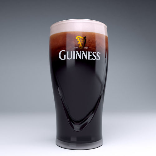 guinness beer glass 3d model max obj 3ds stl 1