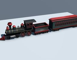 3d asset VR / AR ready low poly steam engine train