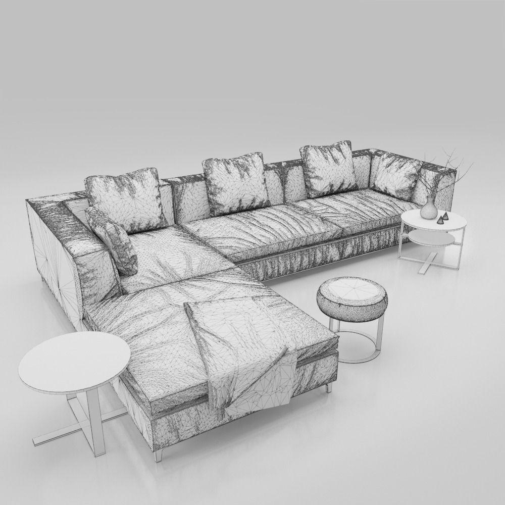 ... sofa b and b italia michel 3d model max obj fbx 3