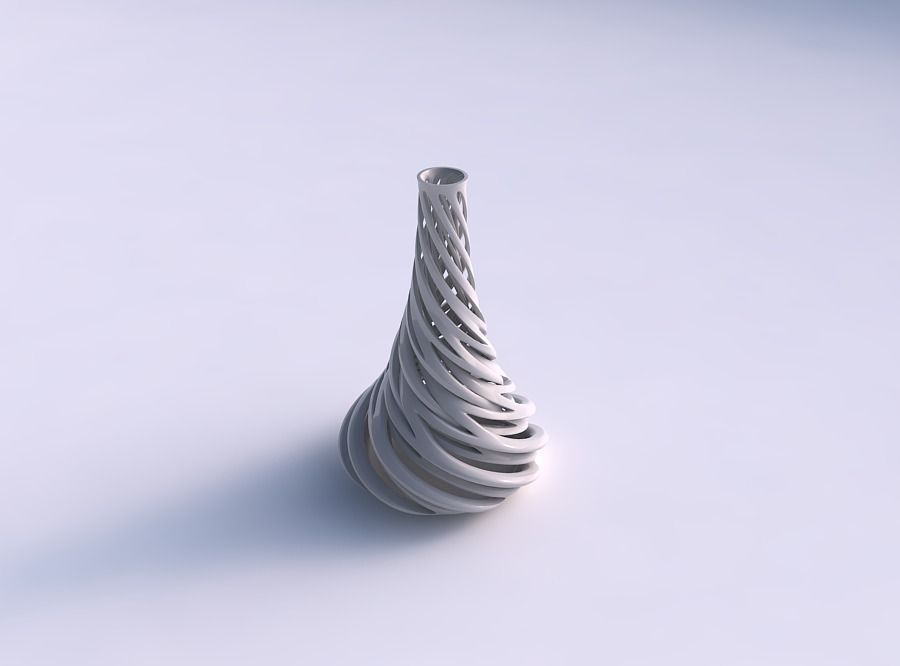 Vase taper slim with intertwining lines very twisted and tape...