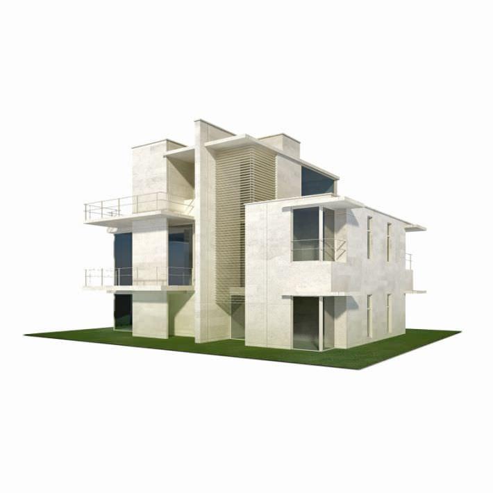 Modern House Building 3d Model 1