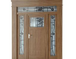 Brown Wooden Door With Stained Glass 3D