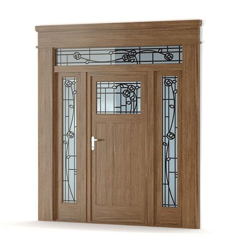 Brown Wooden Door With Stained Glass 3d Cgtrader