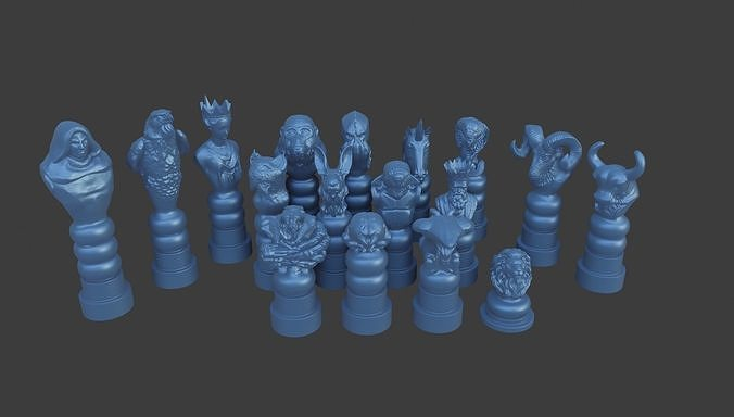 Fantastic Wise Animals and Characters Chess and pawn set