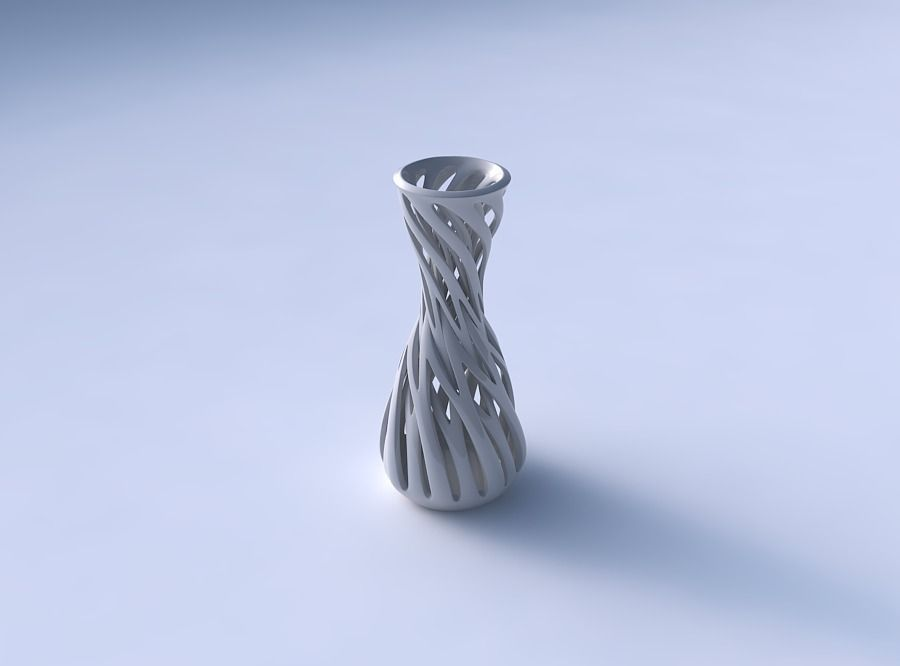Vase Curved Hourglass With Intertwining Lines Twisted And Tap 3d