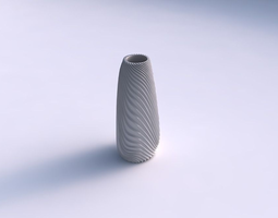 Vase Bullet with wavy extruded lines 2 3D Model