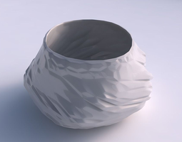 bowl twisted elipse with twisted rocky bulges 3d print model