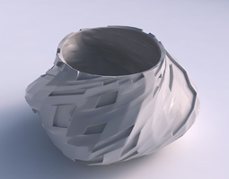 Bowl twisted elipse with cavities 3D printable model