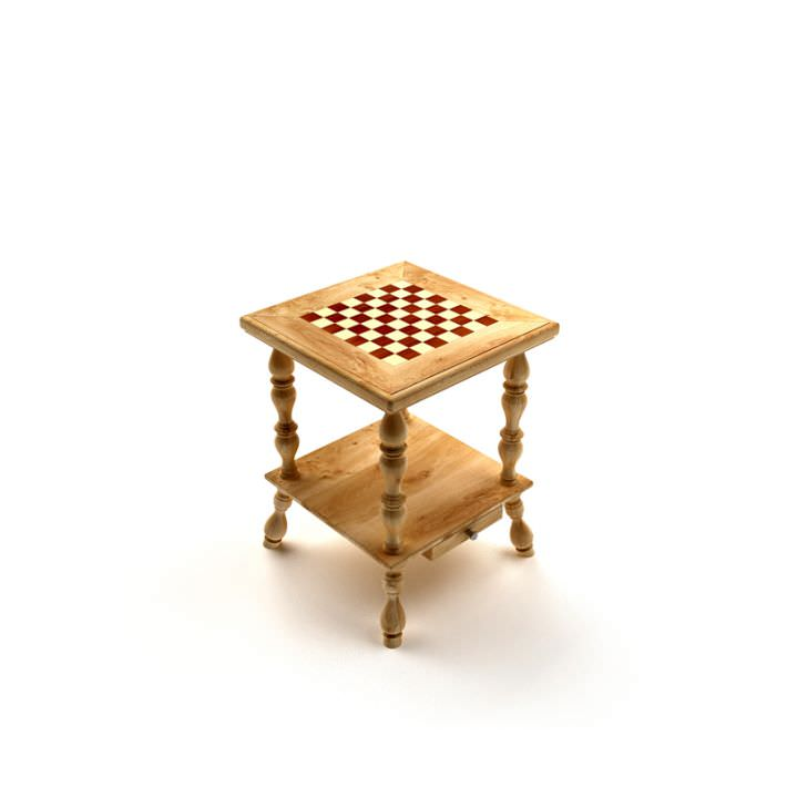 Wooden Checkerboard Chess Table 3d Model 1