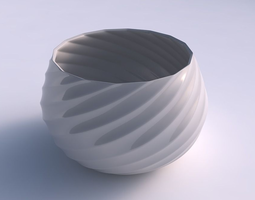 3d printable model bowl squeezed twisted with bands