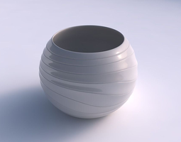 bowl spheric with distorted horizontal dents 3d print model