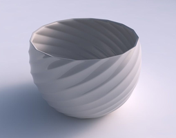 3D print model Bowl spheric twisted with bands