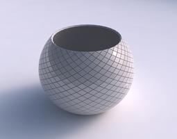 3D printable model Bowl spheric with diagonal grid plates