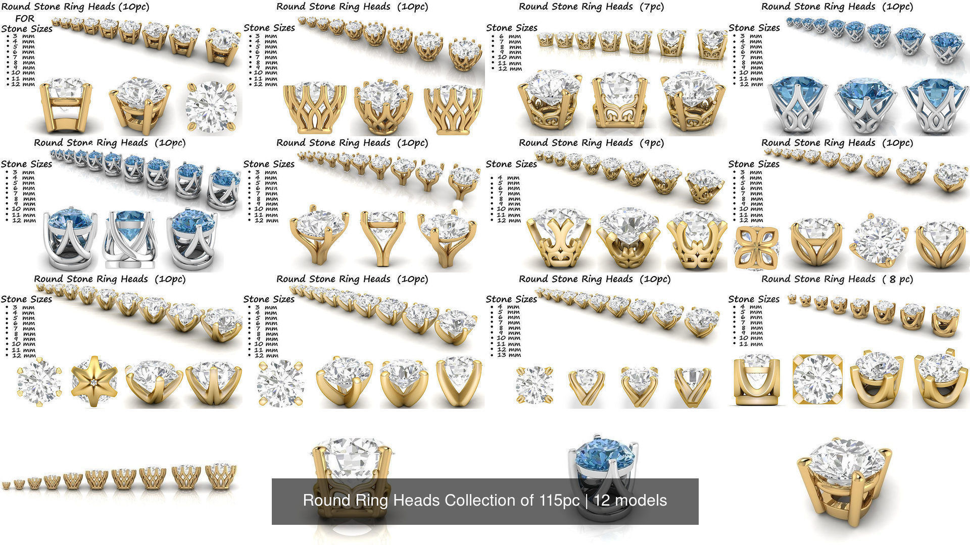 Round Ring Heads Collection of 115pc