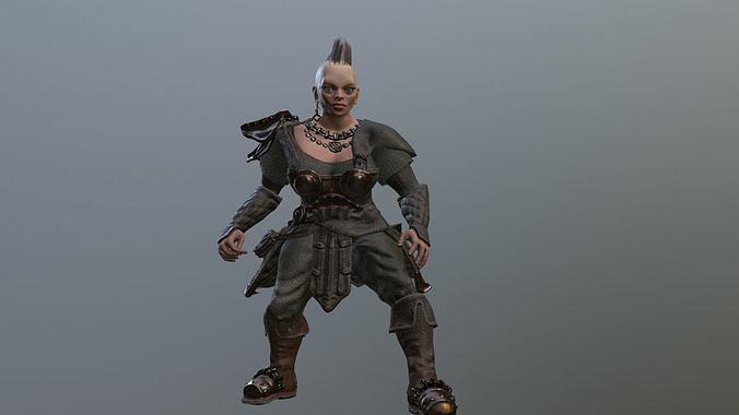 Dwarf Woman Warrior Low-poly