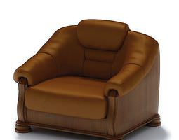 Brown Leather Armchair 3D model
