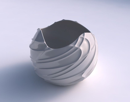 bowl spheric wavy sparse extruded lines 3d printable model