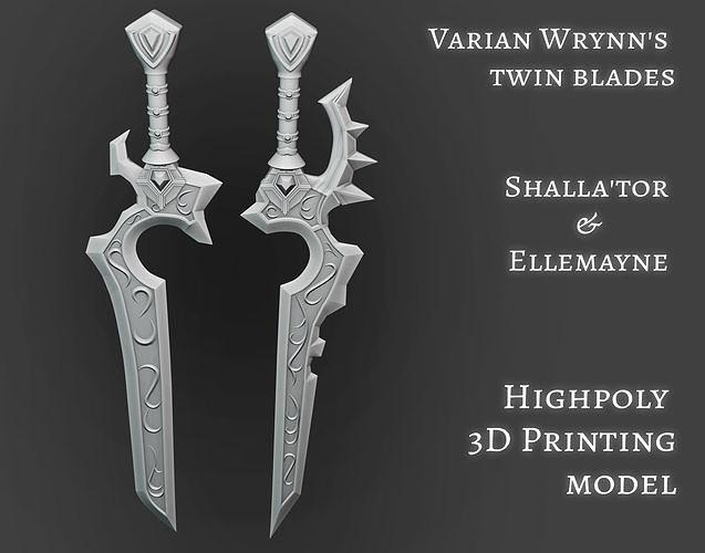 Varian Wrynns swords Shallator Ellemayne twin blades printable