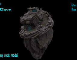 skull cave and rocks game-ready 3d asset