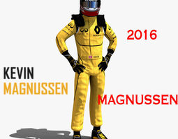 low-poly kevin magnussen 2016 3d asset rigged